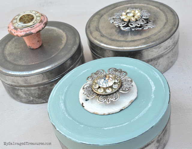 repurposed decorated metal film canisters