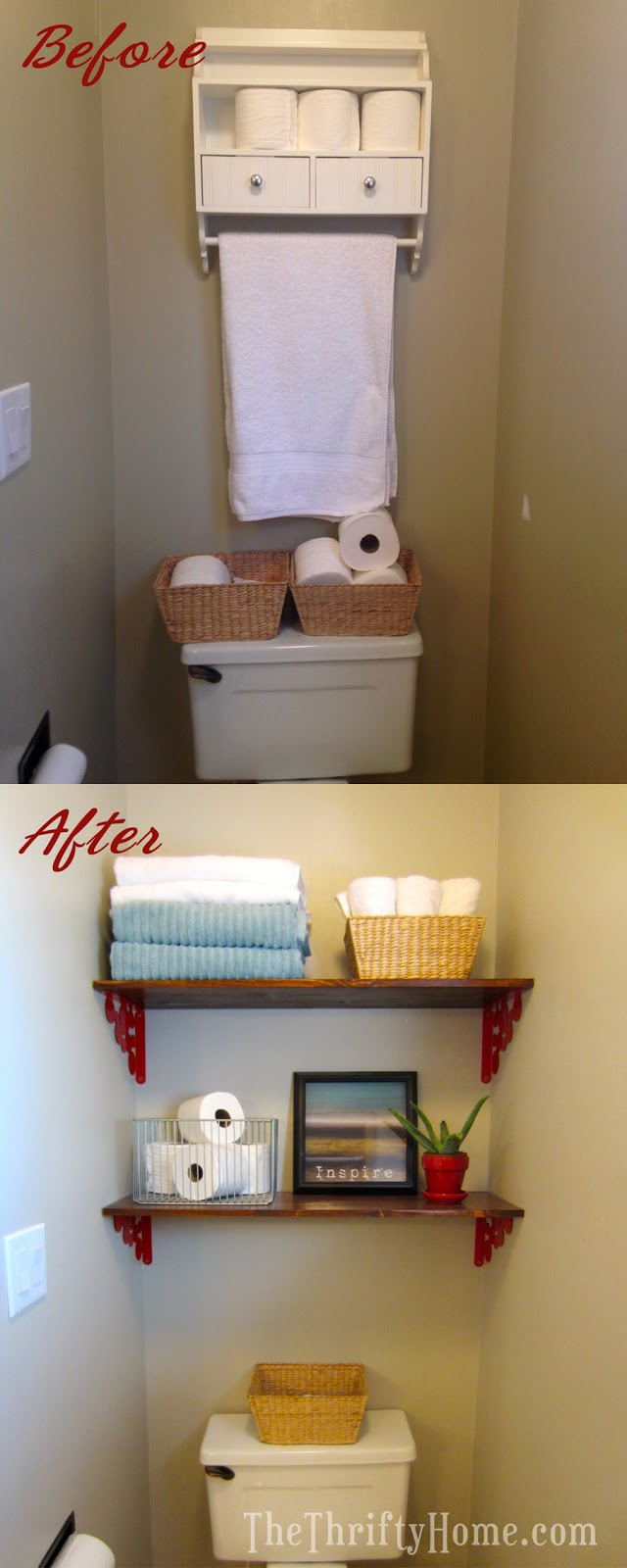 The thrifty home quick easy and cheap custom ikea shelves above the toilet - Customiser commode ikea ...