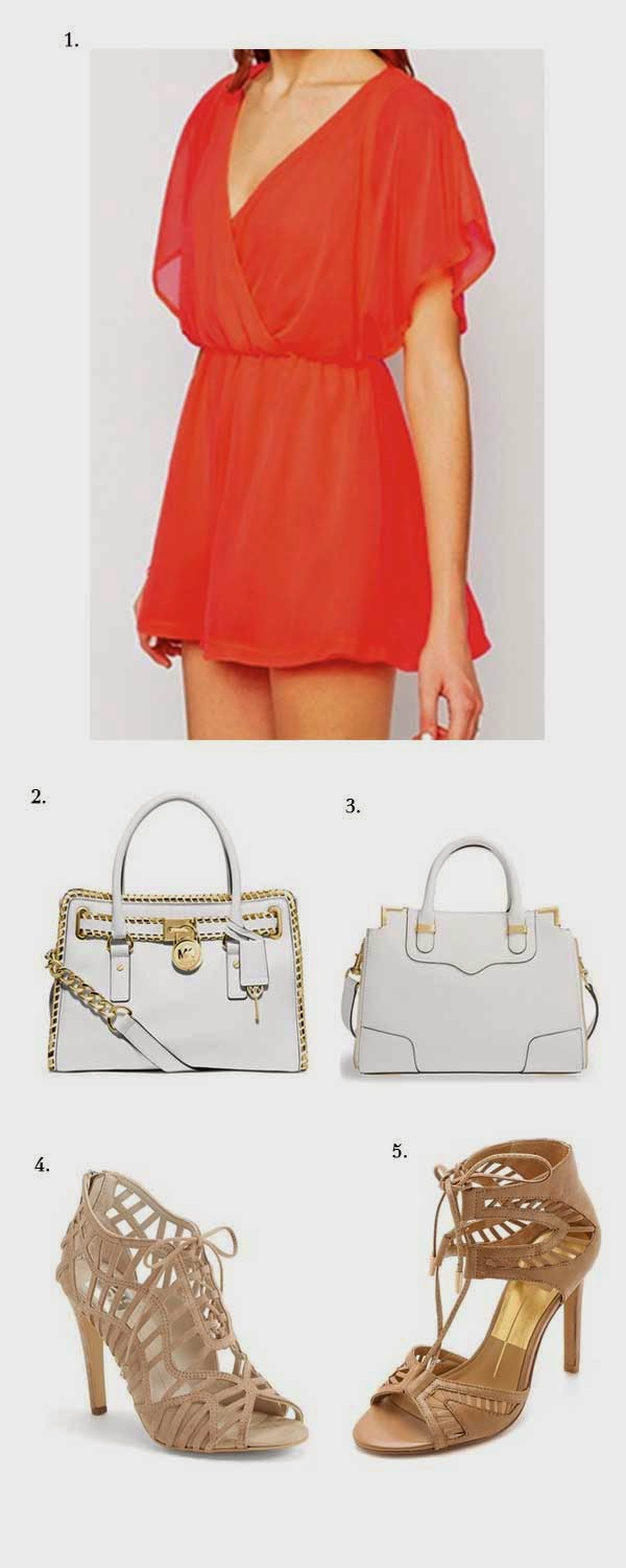 coral romper white satchel nude heels summer outfit
