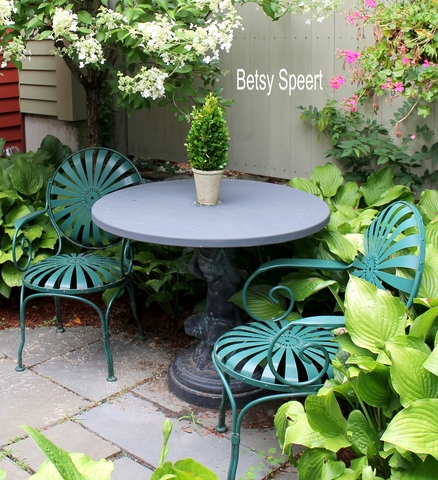 These are commonly called French Garden Chairs, - Betsy Speert's Blog: Cottage Garden Terrace