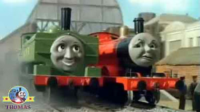 Thomas the train James the red engine with green great western Duck the train driver and fireman