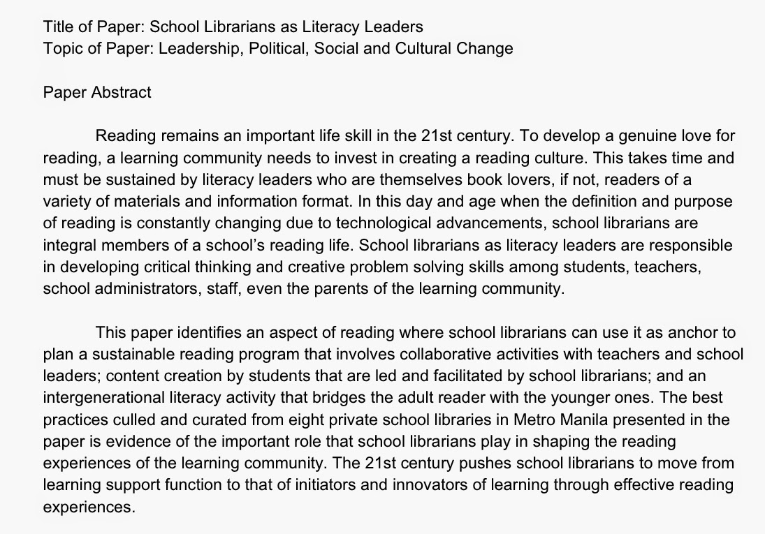 school librarian in action  this is the abstract of my paper that got accepted in the 6th rizal library international conference
