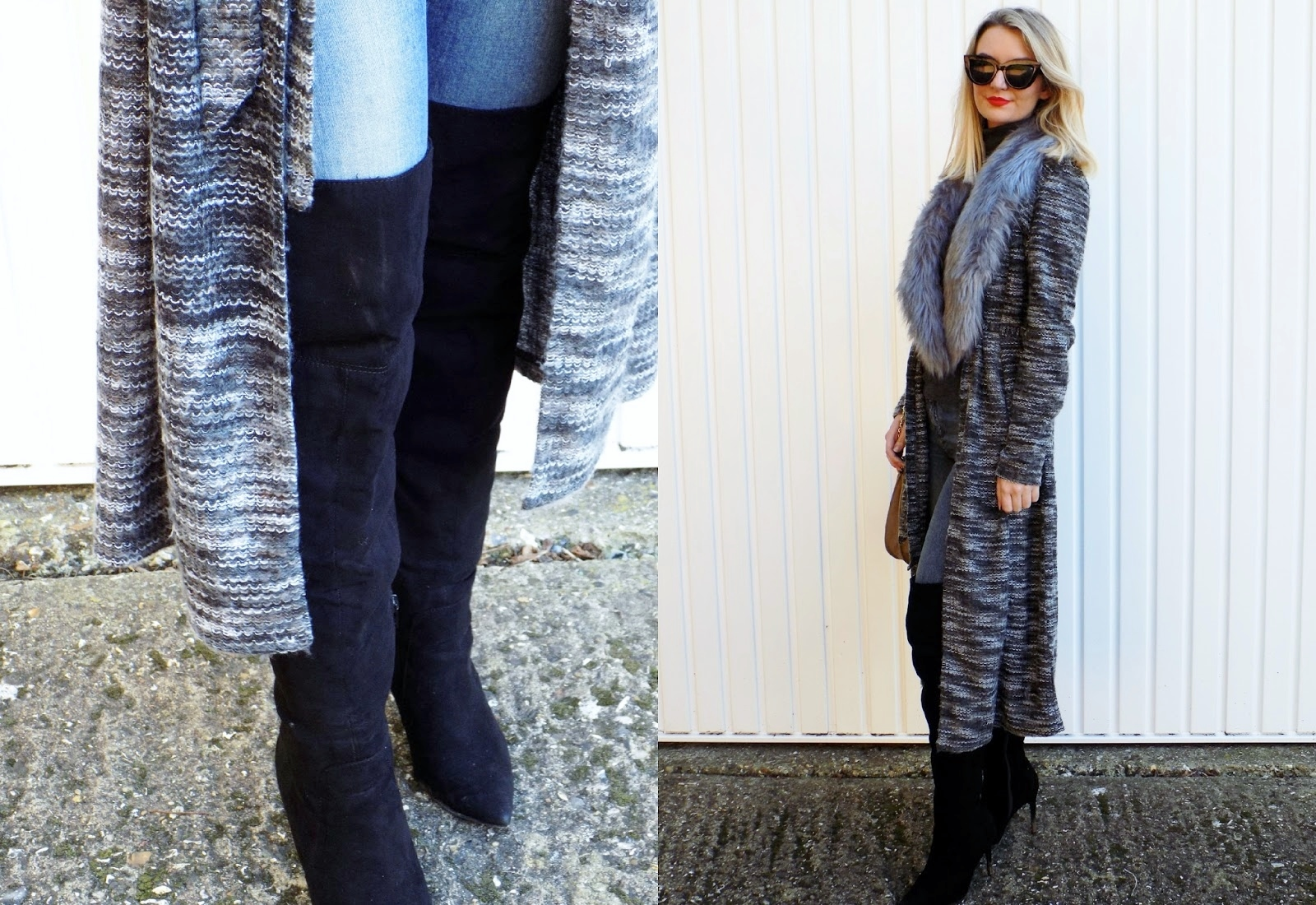 fashion blogger styling a cosy chic outfit
