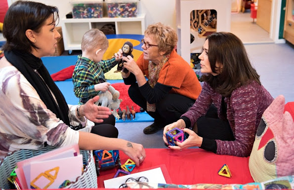 Crown Princess Mary of Denmark visits The Children's House (Kindergarten) Børnehuset SIV