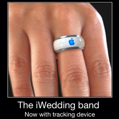 The iWedding band, now with trcking device. Keep track of your spouse with the new Apple wedding ring!