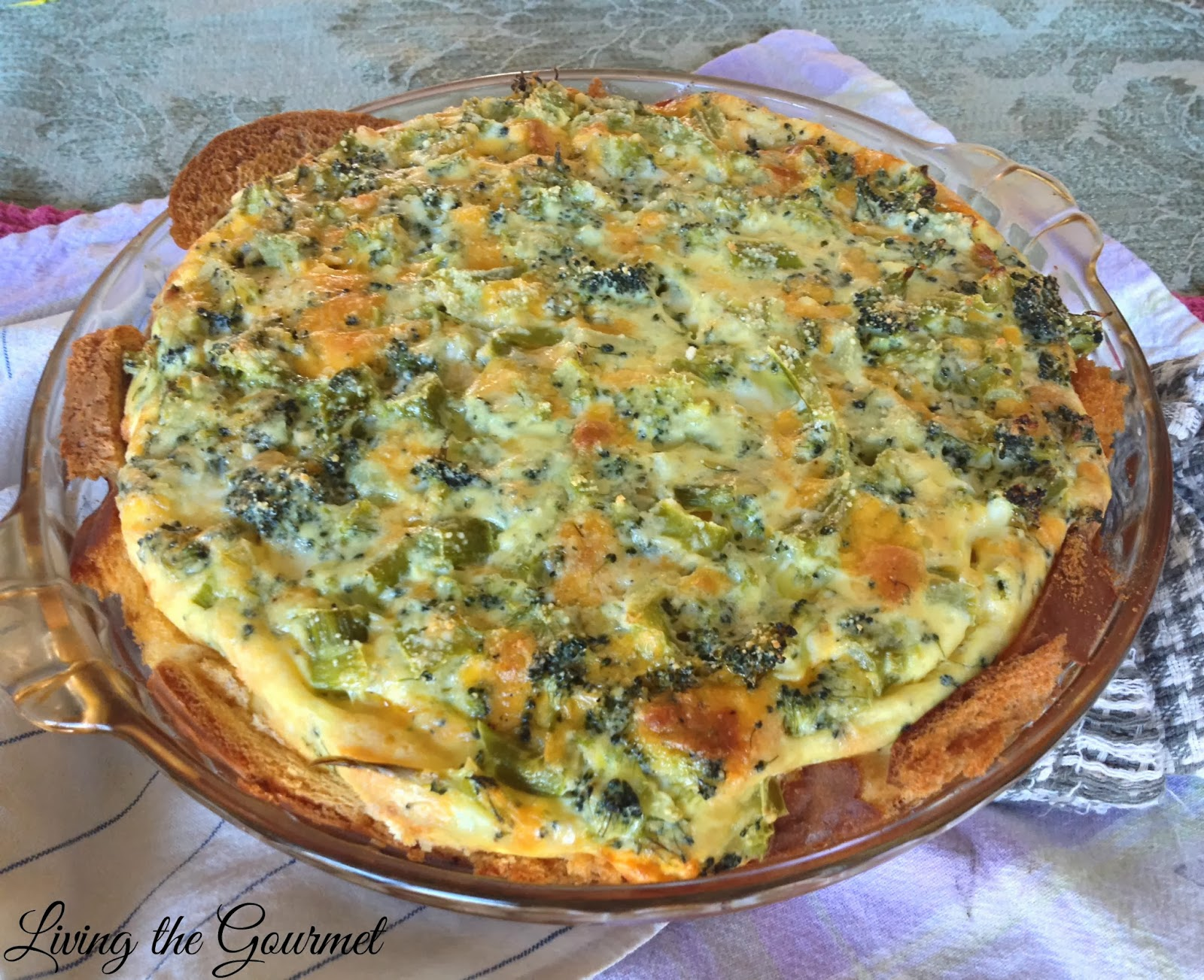 Simple Broccoli Cheddar Quiche - Living The Gourmet
