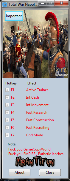 Total War Napoleon V1.3.0 Trainer +6 MrAntiFun