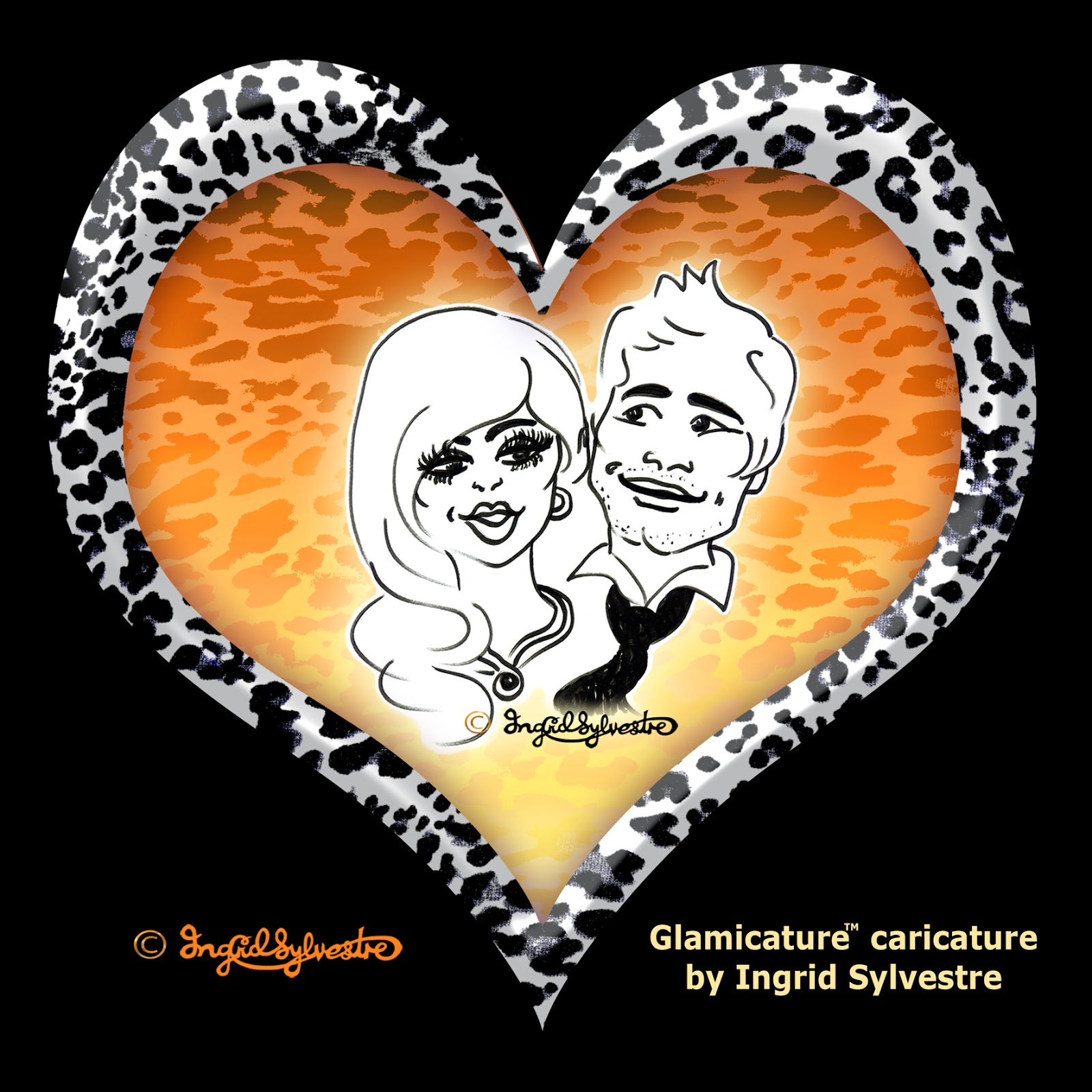 Party Glamicature in digital frame by UK caricature artist Ingrid Sylvestre