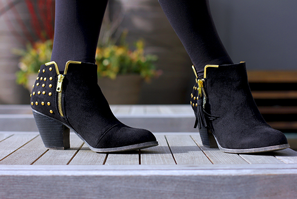 ShoeDazzle Black Studded Booties