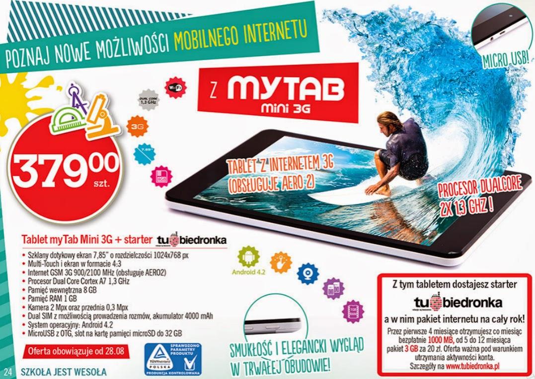 Tablet myTab Mini 3G z Biedronki ulotka