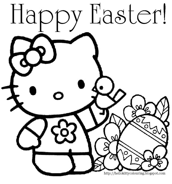 Hello Kitty Coloring Pages Happy Easter