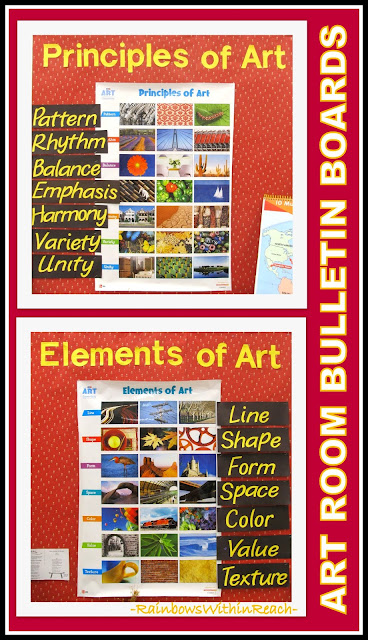 Art Room Vocabulary Words Bulletin Board via RainbowsWithinReach