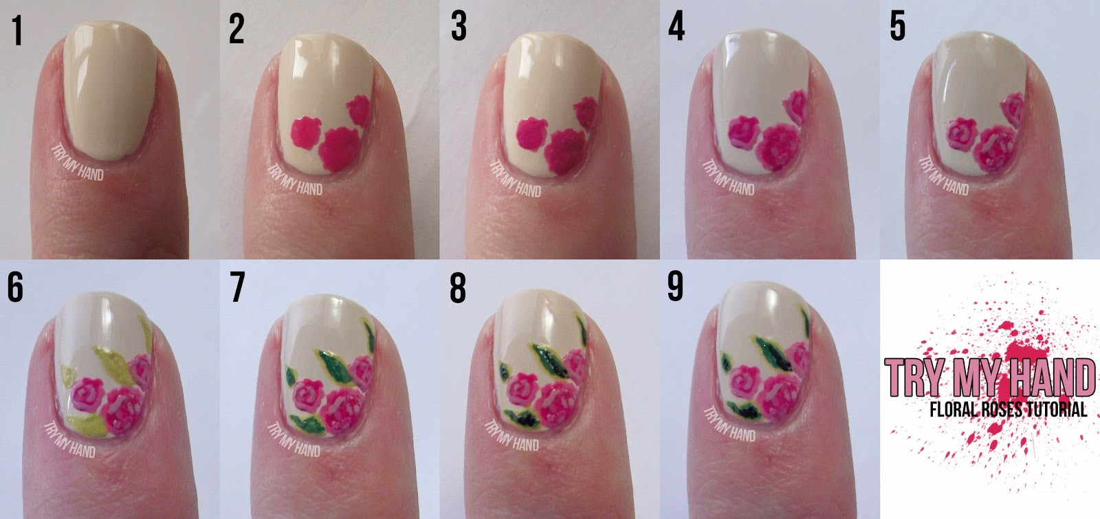 Nail design roses : Start with your choice of base colour i used opi my vampire is