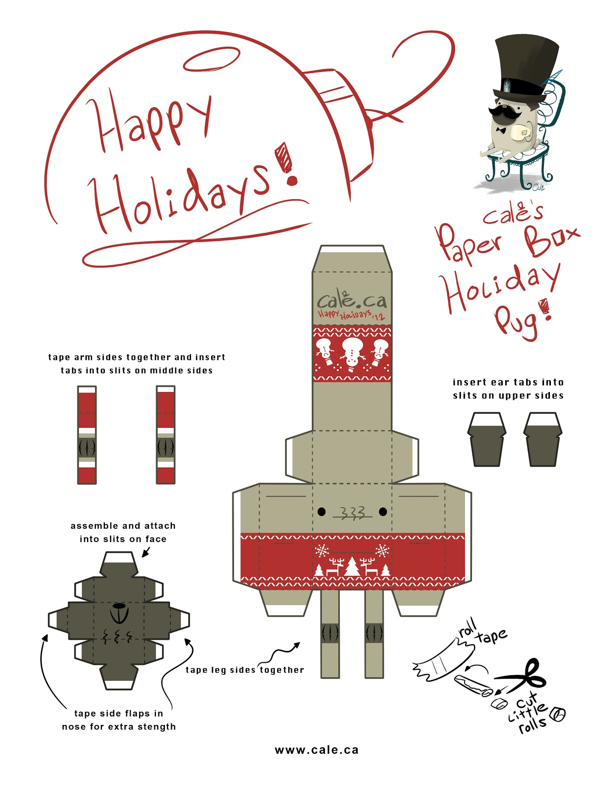 cale s museum of delights celebrate this holiday season your own festive paper box pug print out the template cut fold and bam next thing you know the christmas cheer is