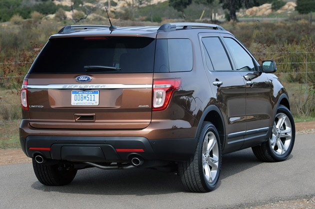 Rear three-quarters view of the 2012 Ford Explorer in desert hills