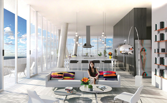 Renderizado de arquitectura de apartamento de torre en Miami