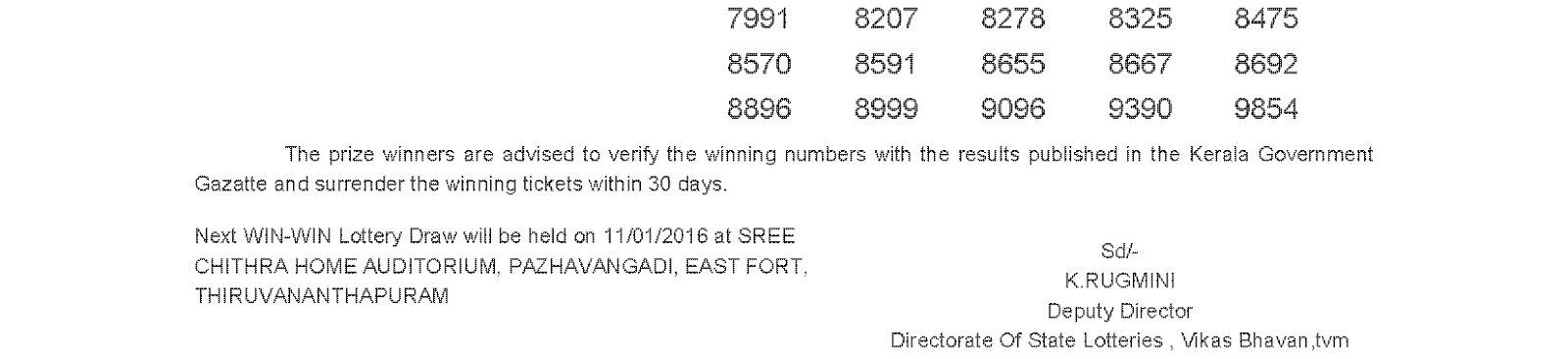 WIN WIN Lottery W 341 Result 4-1-2016
