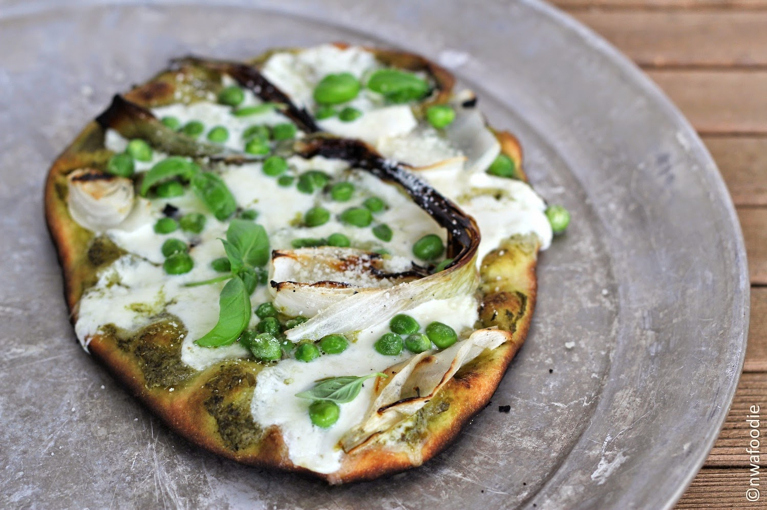 Grilled Spring pizza with spring onions, sweet peas and basic micro greens (c)nwafoodie