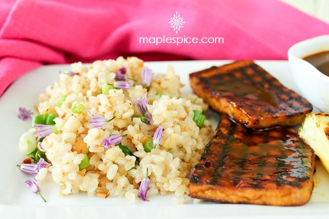 ... : Grilled Hawaiian Tofu with Baked Macadamia Nut & Coconut Brown Rice