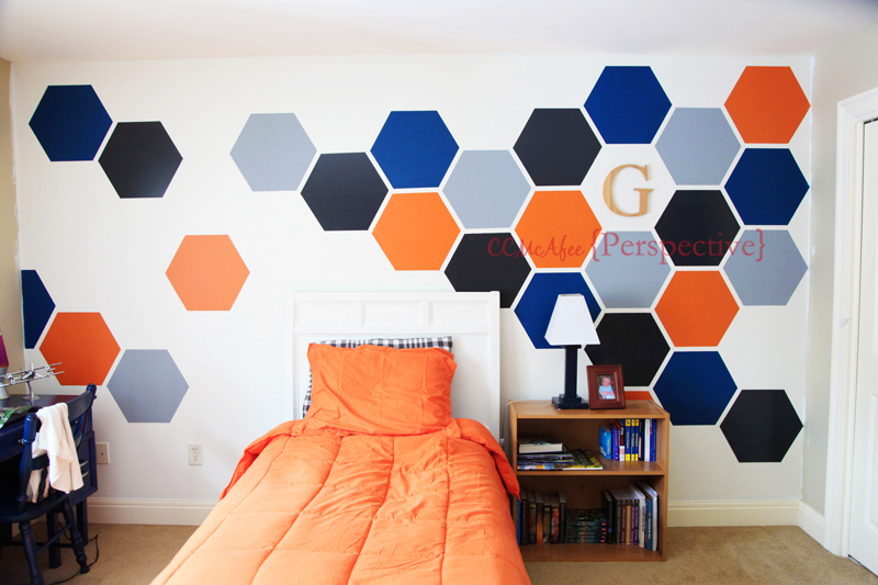 Hexagon Wall Makeover for Teen Boy