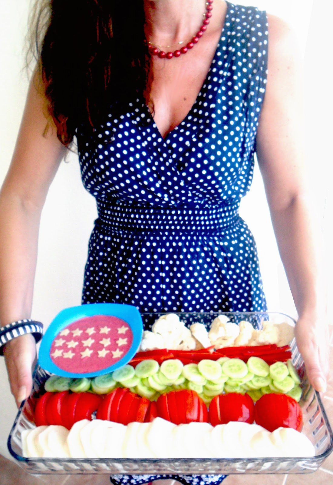 HS 4th of July Potluck  Vegetable Tray With Beetroot Yogurt Dip