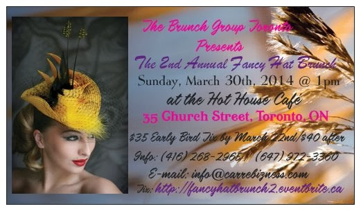 Get Your Advance Tickets Now for the 2nd Annual Fancy Hat Brunch, Sun March 30th, Toronto, ON