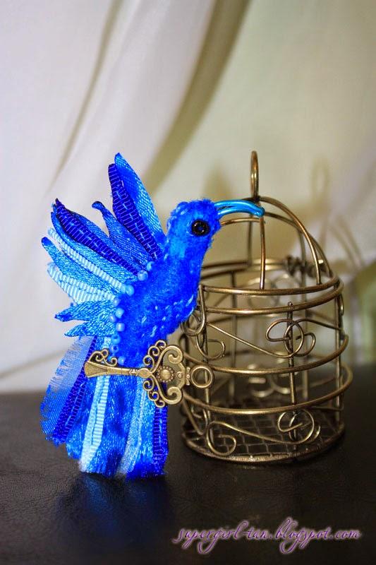 брошь синяя птица