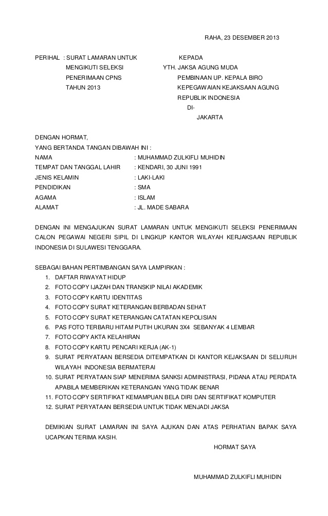 Contoh Application Letter Yang Baik