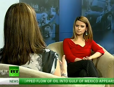 Rabia Chowdhry being interviewed on RT, Russia Today