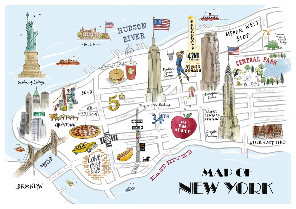 New York City On A Map – New York City Tourist Attractions Map