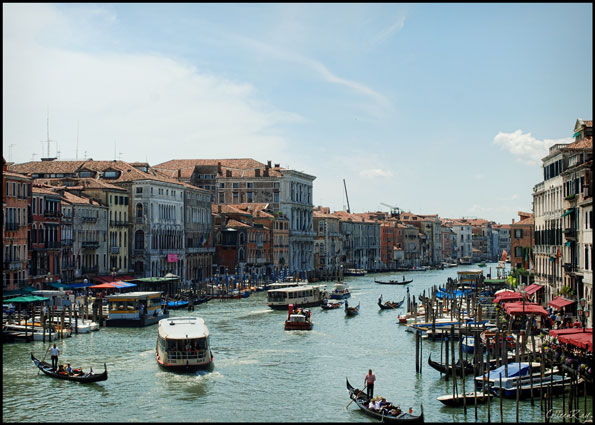 Overwhelming chaos of Grand Canal traffic in Venice