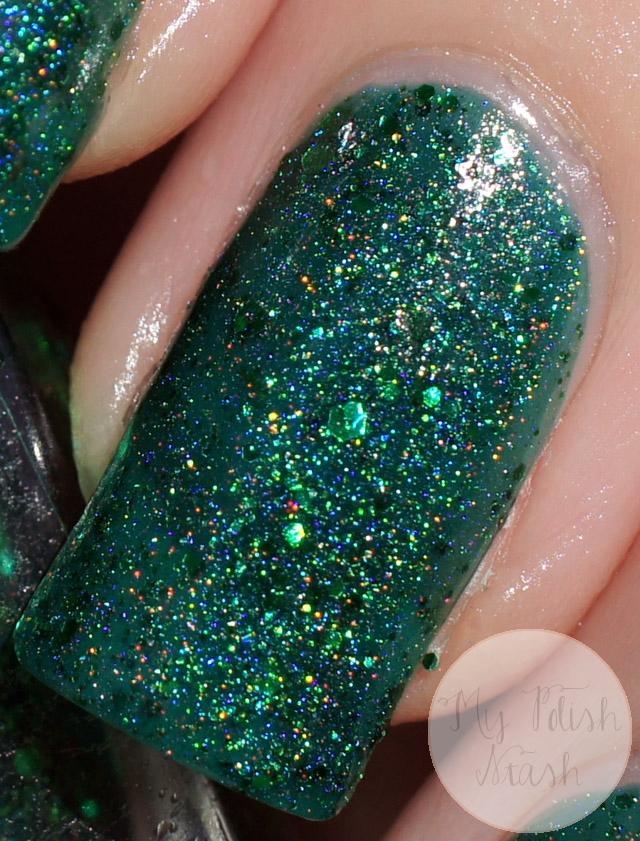 indie green holo nail polish