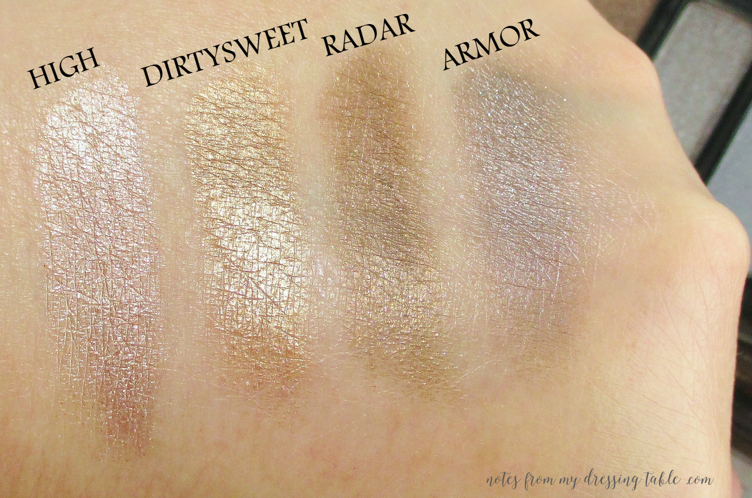 Urban Decay NAKED Smokey Palette Swatches Shimmers notesfrom my dressing table