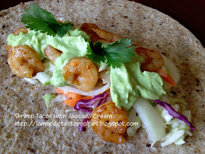 Shrimp Tacos with Avocado Cream | Addicted to Recipes