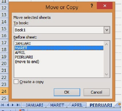 Dialog Move or Copy sheet