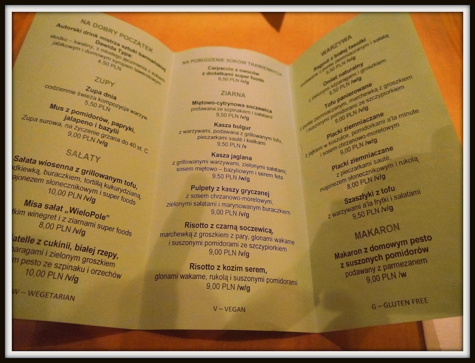 Wielopole 3, restauracja wegetariańska, wegańska, bezglutenowa, menu