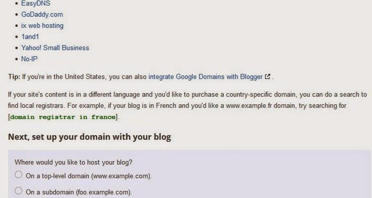 setting blogger custom domain