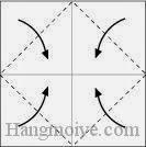 Bước 2: Gấp chéo bốn góc tờ giấy vào trong