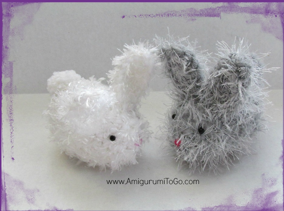 white and grey handmade bunnies