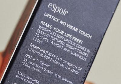 eSpoir no wear touch lipstick PK009 packaging