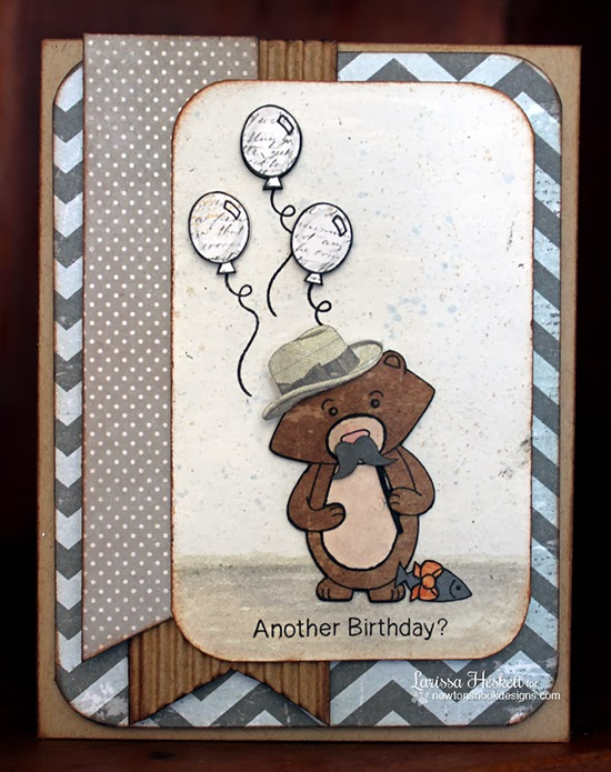 Winston's Birthday Bear Card by Larissa Heskett for Newton's Nook Designs