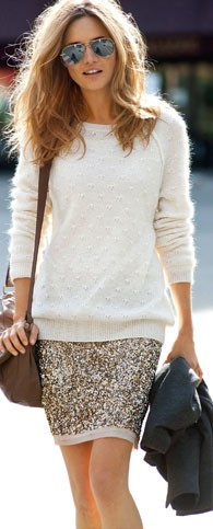 Latest sequin skirt sweater fashion