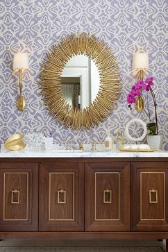 vignette styling console chest oversized gold framed mirror