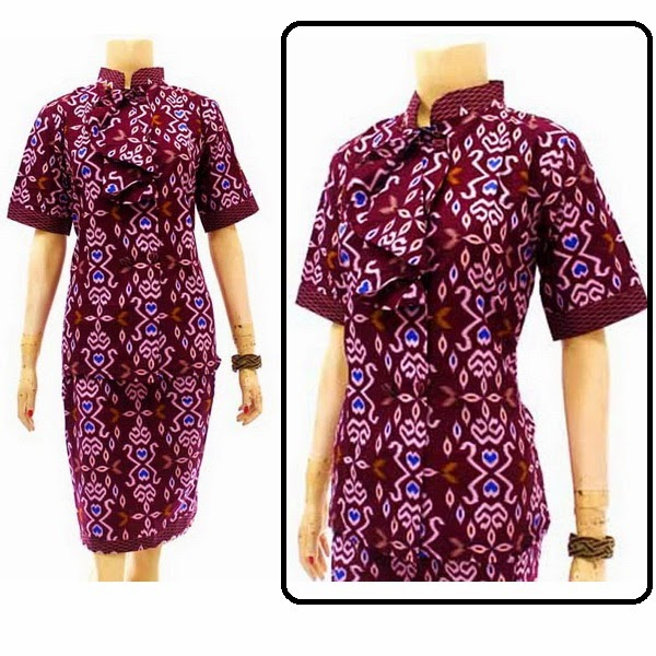 DB3781  Model Baju Dress Batik Modern Terbaru 2014