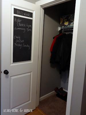 chalkboard paint inside closet door
