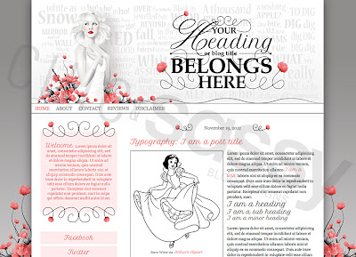 A fairytale Chic and Sassy modern Snow White blog template