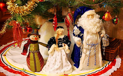 Santa clause Snow man and Lady