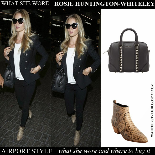 Rosie Huntington-Whiteley in brown python snake print ankle boots Saint  Laurent, black blazer 7fe917fbc2