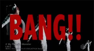 """BANG!!"" in large red letters while multiple Mayas dance."