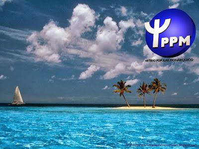 Wallpaper do Partido Popular Monárquico emblema inclinado do PPM Ilha Azul para utilizar como fundo de tela do seu ambiente de trabalho